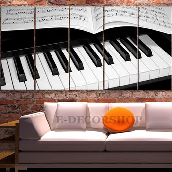 Canvas Print Piano and Notas - Sheet Music Art Canvas Print 5 Panel Wall Art Canvas MC08