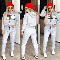 FILA Casual Print Hoodie Top Sweater Pants Trousers Set Two-piece