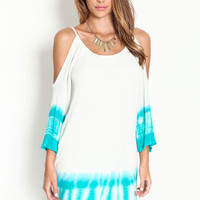 Tie Dye Coldshoulder Dress - LoveCulture