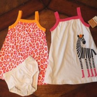 NWT Carters Infant Baby Girl Size 18 Months Set of 2 Sundresses Zebra & Leopard