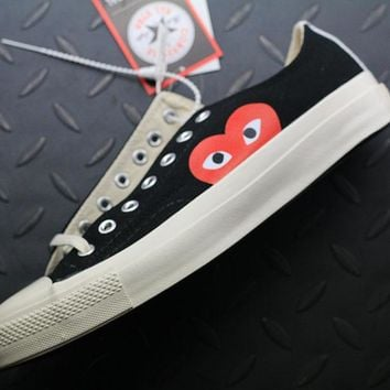 Converse Cdg Play Addict Fashion Canvas Flats Sneakers Sport Black