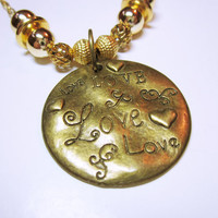 LOVE Engraved Gold Word Quote Pendant Round Love Necklace Gift Idea For Her NECKLACE JEWELRY