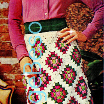 Skirt CROCHET PATTERN 1970s Retro Ladies Granny Square Skirt Crochet Pattern Granny Skirt Instant Download PDF Pattern