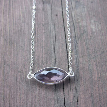 Minimalist Amethyst Stone Necklace, Amethyst, Necklace, Delicate Necklace, Bezel, Stone Necklace, Gemstone, Gift for Her, Gift for Wife,