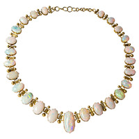 1920's Antique Crystal Opal Gold Necklace
