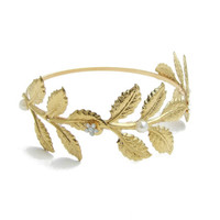 Gold Leaf Bangle Bracelet, Gold Branch Cuff Bracelet, Grecian Bracelet, Gold Arm Cuff.