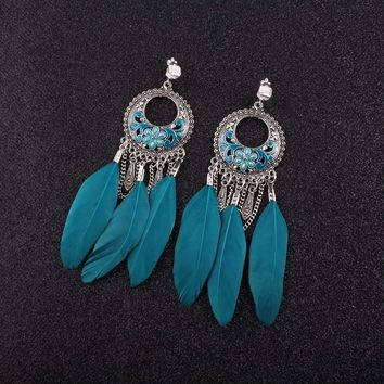 JIOFREE Vintage Bohemia Clip on Earrings Statement big feather 4 colors charm earrings Vintage jewelry