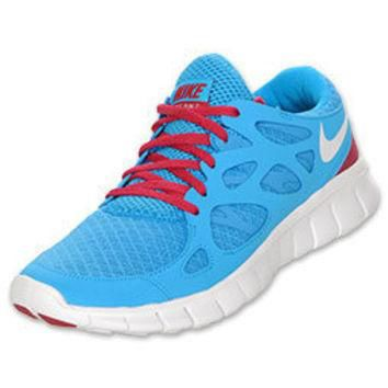Nike Free Run+ 2 Women's Running Shoes| FinishLine.com | Blue Glow/Legacy Red/White