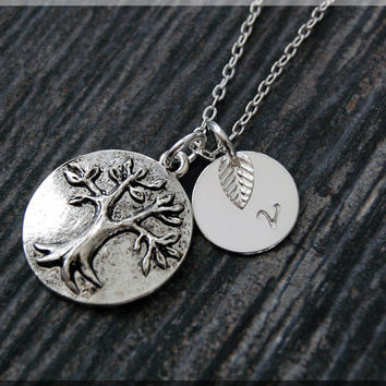 Silver Tree of Life Necklace, Initial Charm Necklace, Personalized Necklace, Family Charm, Tree pendant, Family Inspired Jewelry