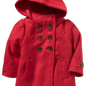 Old Navy Hooded Pea Coats For Baby Size 18-24 M - Robbie red