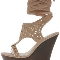 STEF15 NUDE LASER CUT RIBBON WEDGE