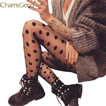 Chamsgend Tights Women Polka Dot Print Lace Thin Thigh High Stockings Pantyhose Skinny 80202