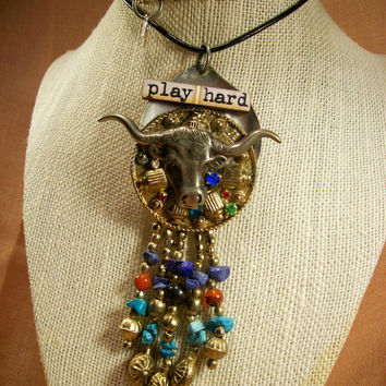 Rodeo Queen Country Western Southwestern Style Bull Play Hard Beaded Wearable Mixed Media Art Necklace -