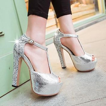 Bling Glitters High Heels Party Sandals Platform Shoes