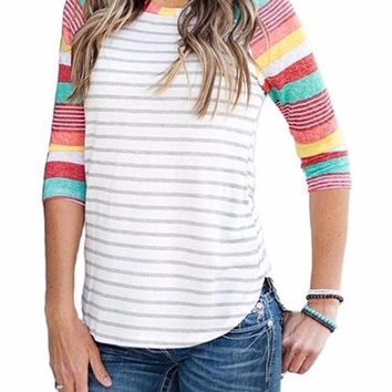 Women's Red Mint Yellow Striped Colorful Colorblock 3/4 Raglan Sleeve T-Shirt Top
