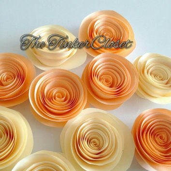 Paper flowers, roses, paper roses, wedding decor, table decor, wedding flowers, ivory flowers, peach flowers, centerpiece, party decoration