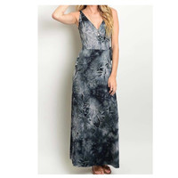 """Always My Style"" V Neckline Black TieDye Maxi Dress"