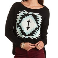 AZTEC HI-LOW CROPPED SWEATER
