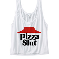 PIZZA SLUT CROP TOP COOL SHIRTS FUNNY SHIRTS GREAT GIFTS FOR TEENS BIRTHDAY GIFTS CHRISTMAS GIFTS