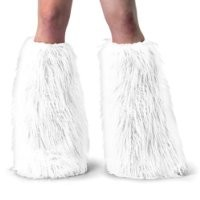 Fluffy and Fuzzy Solid White Knee High Faux Fur Boot Covers