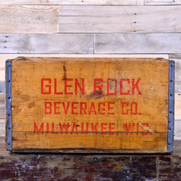 Vintage Glen Rock Beverage Company Crate, Milwaukee Wisconsin, Vintage Wood Soda Crate