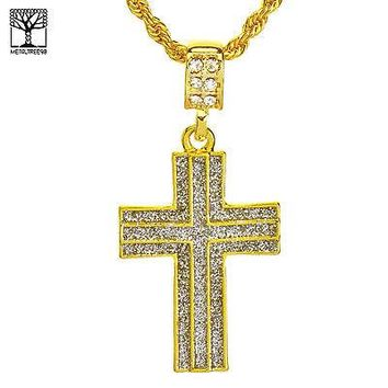 """Jewelry Kay style Men's Iced Out Glitter Cross Double Lined Pendant & 22"""" Rope Chain Set NA 5193 G"""