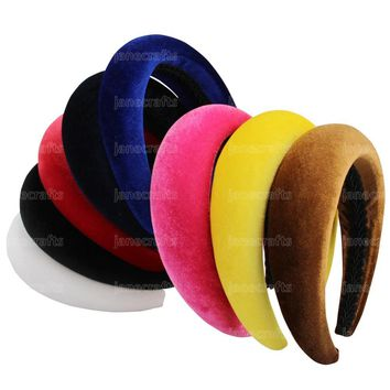 Hot 4 CM Wide New Solid Color thick Velvet Plastic Hairband Headwear Brief Fashion Girls Women Headband Lovely Hair Accessories