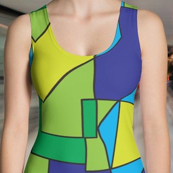 Women's Abstract Color Block Tank Top