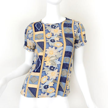 Vintage 90s Asian Print Women's Blouse - Indigo Blue and Yellow Batik Style Floral Print Short Sleeve Top Shirt - Size XS Extra Small