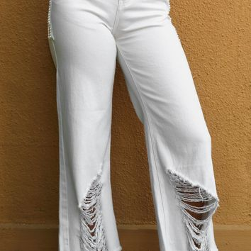 Destroyed Embelished Jeans - White by POL Clothing
