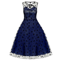 Women Vintage Style Sleeveless Mesh Embroidery Dress Flower Skull sexy hippie apparel