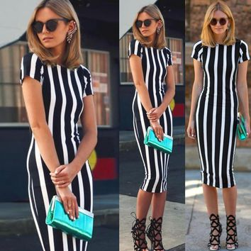 Fashion Vertical stripe short sleeve Slim Stretch dress