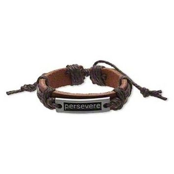 Handmade Brown Perservere Affirmation Leather Silver Pewter Adjustable Bracelet