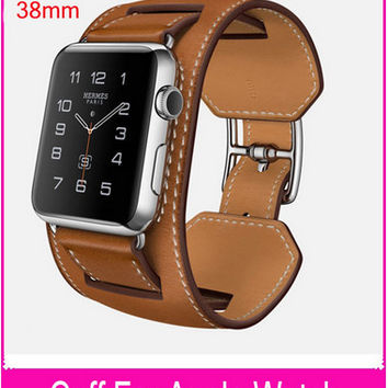 New 1:1 Original Quality Cuff Bracelet Strap Leather Watchband for Pulseira Cuff Apple Watch Band 42mm 38mm With Metal Adapters