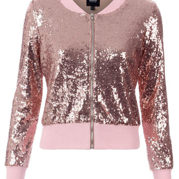 BLINQ SEQUIN BOMBER JACKET ROSE GOLD