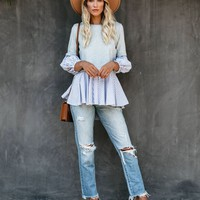 Only One Call Away Striped Contrast Knit Top