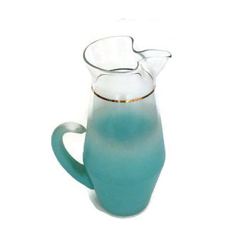Vintage Blendo Pitcher, Glass, Turquoise Ombré, Mid Century, Tall Frosted, Retro Kitchen