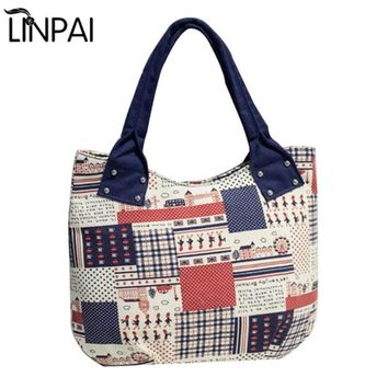 Europe Large Capacity Female Bag Shopping Women Totes Handbag Shoulder Bags Canvas Tote Bag Luggage Travel Bags Print Striped