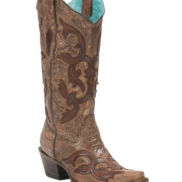 Corral Women's Vintage Cognac with Brown Scroll Overlay Snip Toe Western Boots