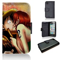 Luffy and Nami Kiss One Piece | wallet case | iPhone 4/4s 5 5s 5c 6 6+ case | samsung galaxy s3 s4 s5 s6 case |
