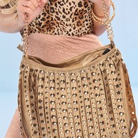 GOLD LEATHER SHREDDED STUDDED ACCENT CHAIN LINK CARRY PURSE