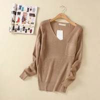 V-neck Pocket Loose Knitted Sweater