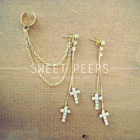 Gold Cross Rhinestone Stud Ear Cuff with Gold Chainmaille