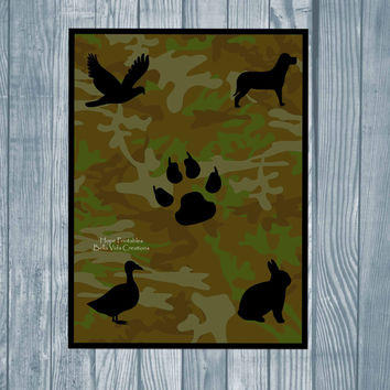 Camouflage Animal Instant Download Digital Print , Green Brown Camo Wall Art , Wolf Paw Duck Printable , Boys room decor , Hunting Military