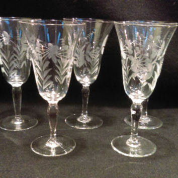 Copper Wheel Etched Crystal Cordial Glasses,Set of % Glasses   (1180)