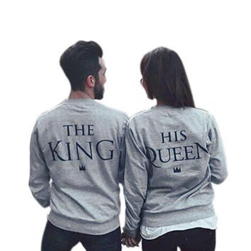Couples Sweatshirts Print KING QUEEN Long Sleeve Hoodies Lovers Sweatshirt Men&Women Pullovers LM58