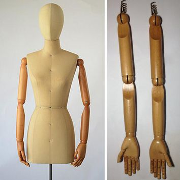 Female mannequin display arm, Dress form mannequin wooden arm