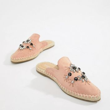London Rebel Wide Fit Embellished Espadrille mules at asos.com