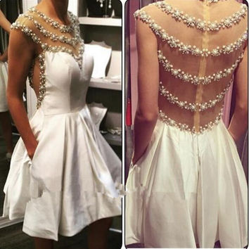 Dsingern Beaded Crystal Gown Prom Homecoming Dresses Illusion Bodice 2016 White Satin A Line Short Graduation Dress Real Photos