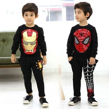 Tide Children Costume Spring And Autumn Boys Spider-Man, Iron Man Children Costume Suit Children Sports Hoodies Clothing Suit